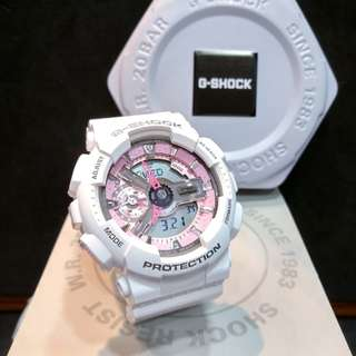 * FREE DELIVERY * Brand New 100% Authentic Casio GShock Mini Gloss White & Pink Trims G Shock S Series for Ladies G-Shock GMAS110MP 7 GMAS110MP-7ADR