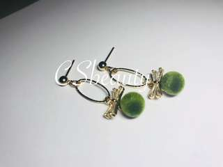 Korean style green fuzz ball with crystal Earrings 005