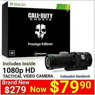 [Brand New] Xbox360 Call Of Duty Ghost PRESTIGE EDITION ( Bundle with Real 1080P video camera)   UP:  $279.90  Special Offer: $79.90. FREE: 2 pcs Of Xbox360 Games Worth $49.90 (Pre-selected)