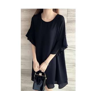 Black Bell Sleeve Dress   Chiffon   Plus-size   Oversize Dress