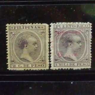 [lapyip1230] 西班牙屬土-菲律賓/波多黎各 1890年 嬰兒國王 一對
