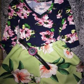 3/4 floral shirt only