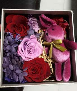Miss your loved ones? Get a bunny with key chain & preserved rose gift box