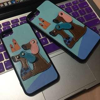 IPhone6/6s,7Plus/8Plus藍色狗狗可愛情侶保護殼機殼電話套