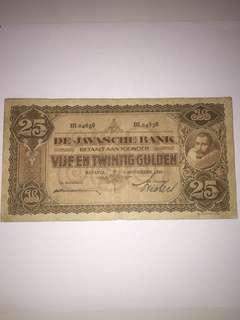 Netherlands Indies 25 Gulden Year 1930