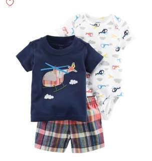 *12M* Brand New Carter's 3 Piece Bodysuit and Shorts Set For Baby Boy