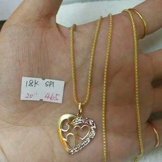 18K pure gold necklace