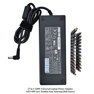 Universal Laptop Power Adapter Charger 19V 120W (27 Compatible Heads are included) ASUS HP Acer Toshiba Sony Samsung Dell Lenovo Msi Aftershock
