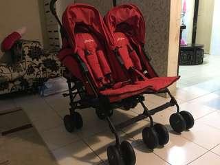 Halford Fliplite Twin Stroller - Red (Genuine)