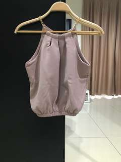 No Brand Pink Halter Crop Top (Size S)