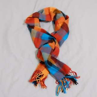 暖色格子圍巾