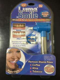 Luma smile teeth polish and whitening.  As seen on tv. Remove stains from coffee, wine and tobacco..