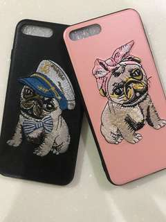 Iphone7 Plus phone Embroidered Pug covers