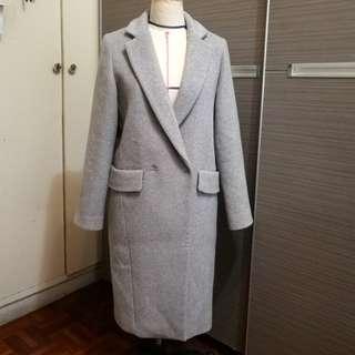 全新NET 淺灰色羊毛大衣