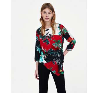 European and American style flower print seven points sleeve pleated hedging asymmetric hedging shirt
