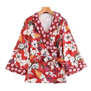 European and American style V-neck cross flower printing stitching double skull blouse