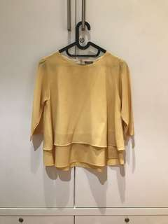 Vivo Yellow Ruffled Top (Size S)
