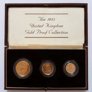 1983 United Kingdom 22K Gold Proof 3 coin collection