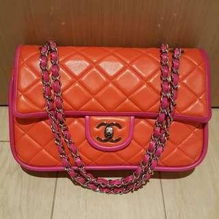 CHANEL 99%new pink/orange lamb double flap 粉紅橙羊皮袋