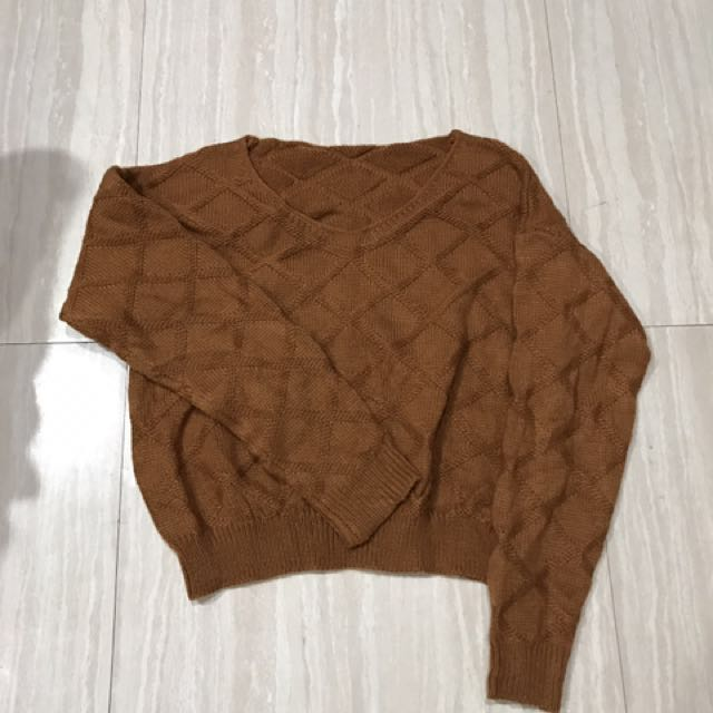 $50全新韓版磚色短版毛衣