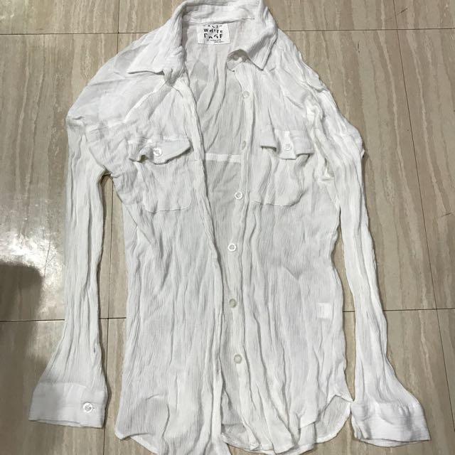 $50韓版白色襯衫遮陽