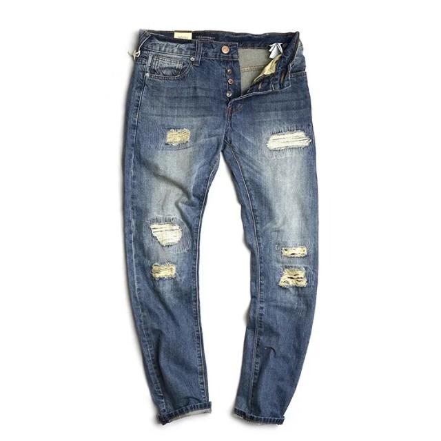 破壞小直筒牛仔褲