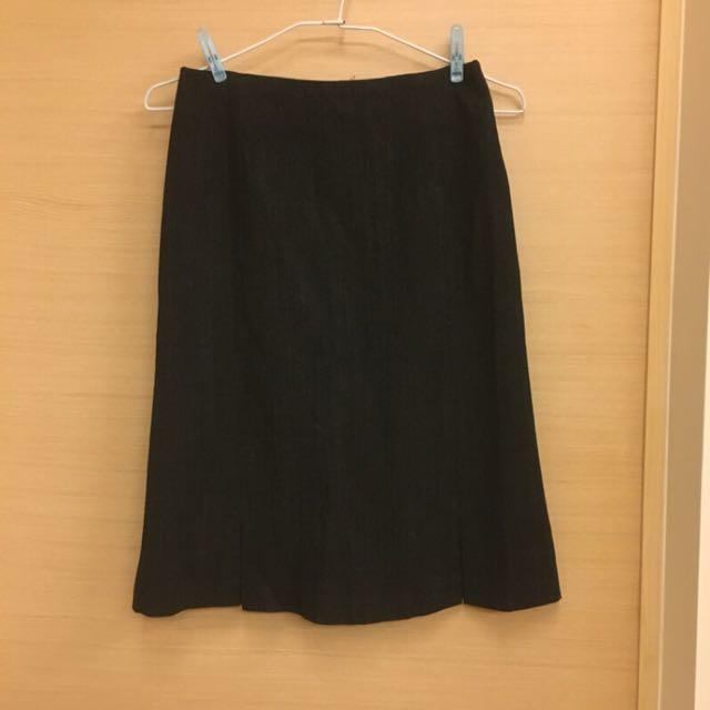 義大利製羊毛混紡黑色中長裙