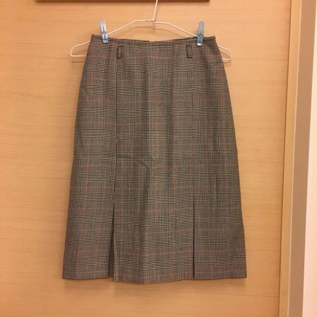 義大利製復古風羊毛格紋中長裙
