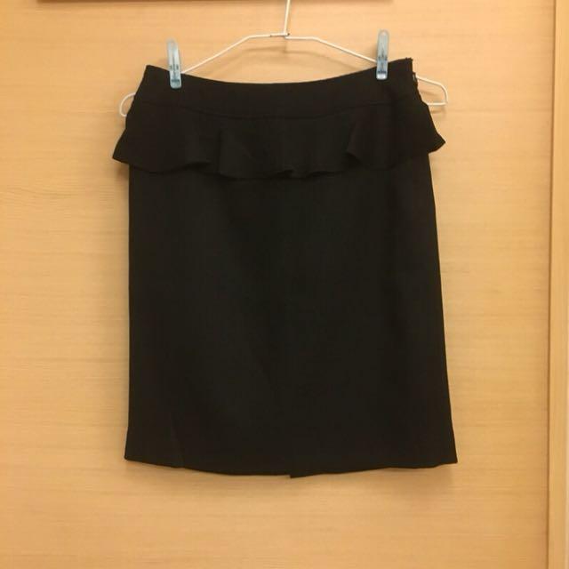 日本帶回 黑色小波浪造型短裙