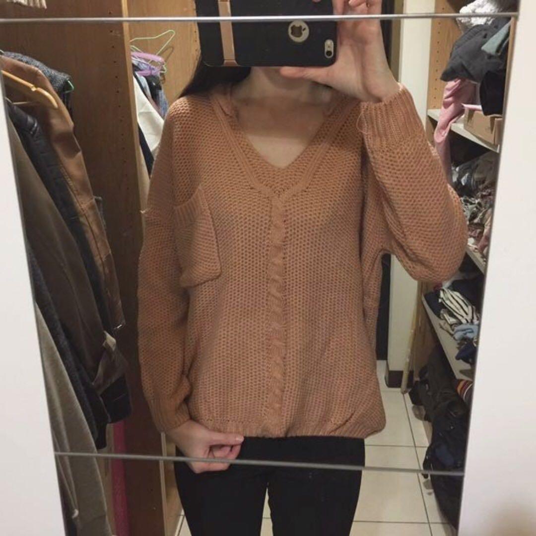 全新韓版親膚連帽厚針織毛衣 免運