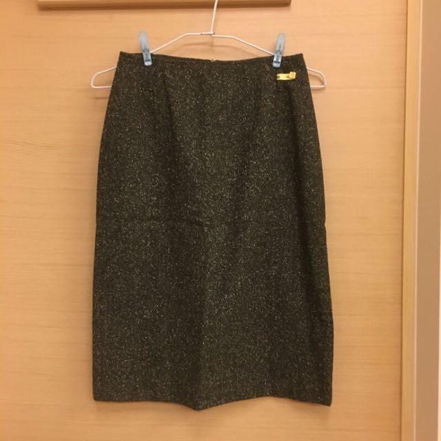 義大利製羊毛混紡深灰點點A字裙