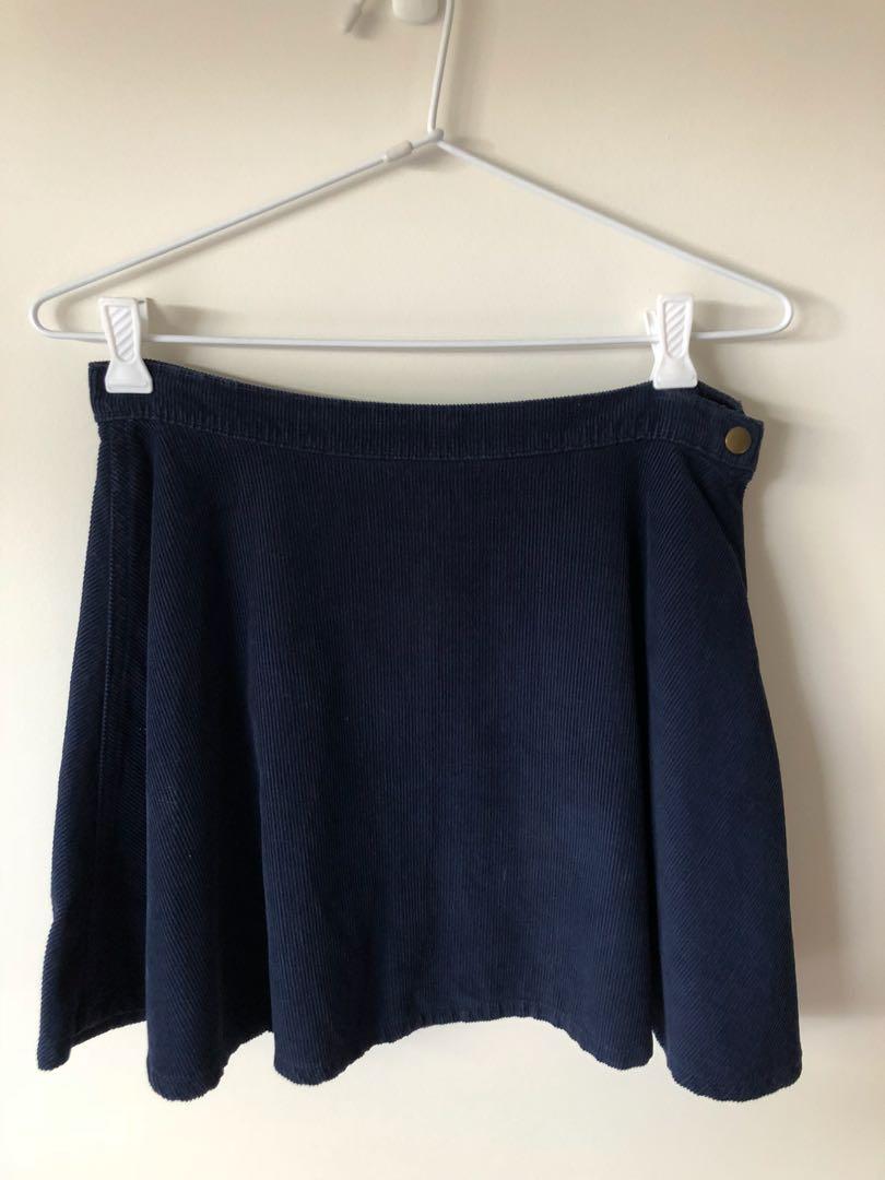 American Apparel navy cord skirt