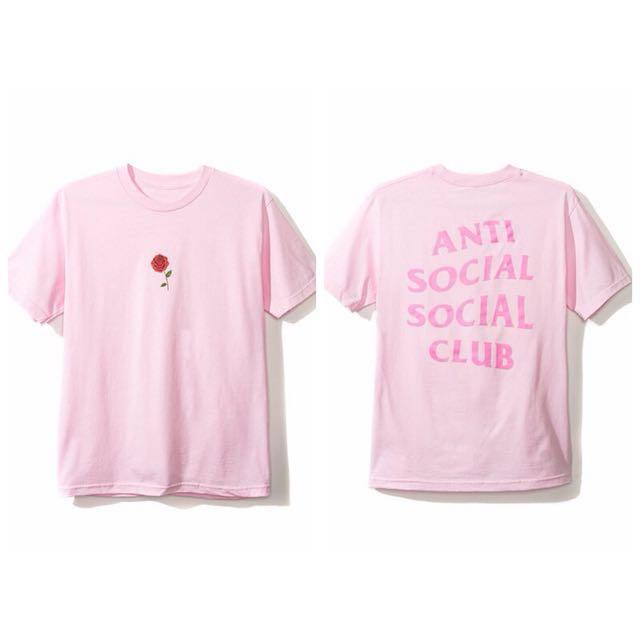 ASSC antisocialsocialclub 邊緣人 玫瑰  粉紅字體 粉紅色短T