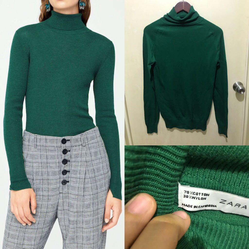 Auth💯 Zara Deep Forest Green Turtleneck