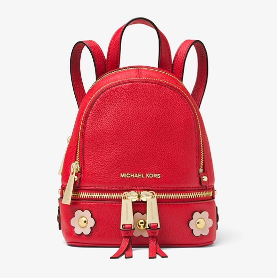 1f3f85c864b2 Authentic MK Michael Kors Rhea Mini Floral Appliqué Leather Backpack ...