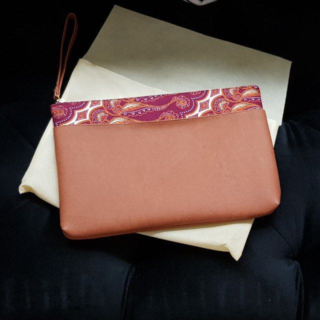 Batik-Leather 2 tone hand sling pouch