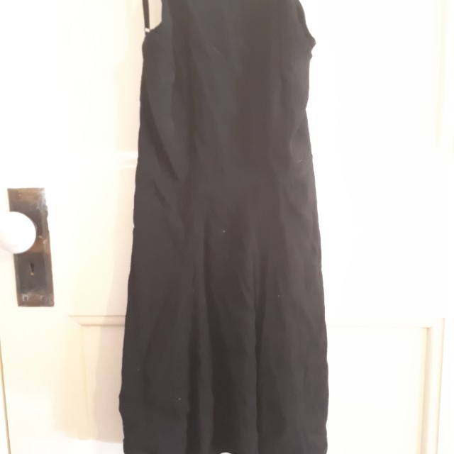 Black low back high neck mini dress