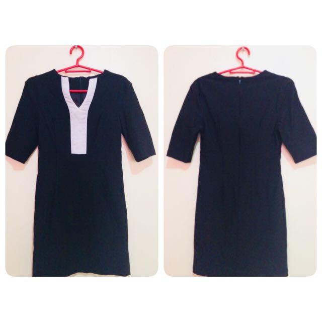 Black&White Korean Dress