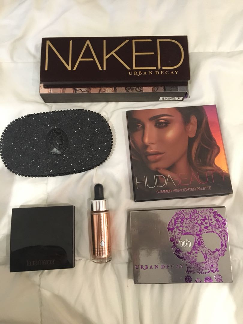 Brand name highlighters and eyeshadow palettes