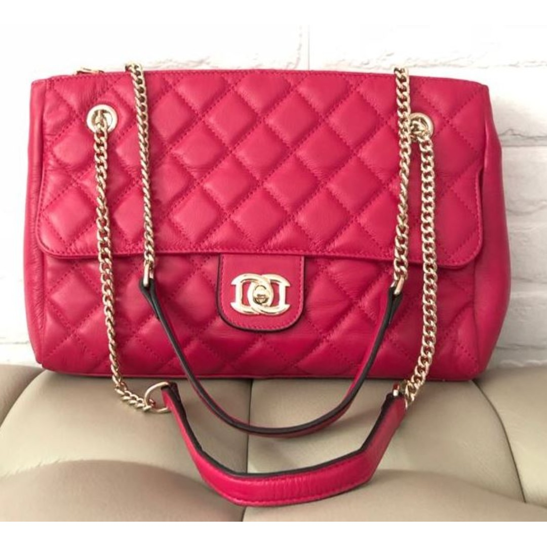 Bright Pink Genuine Cow Leather Quilted Flap Gold Chain Handbag Women Bags Photo