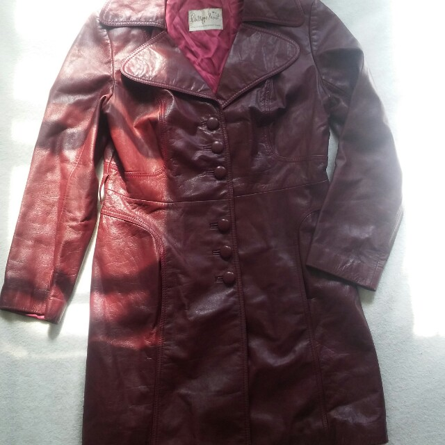 Burgundy Leather Trench Coat