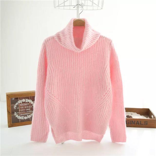 c7b3949717e Candy Pink Knit Sweater Turtleneck Mock Neck Long Sleeve ...