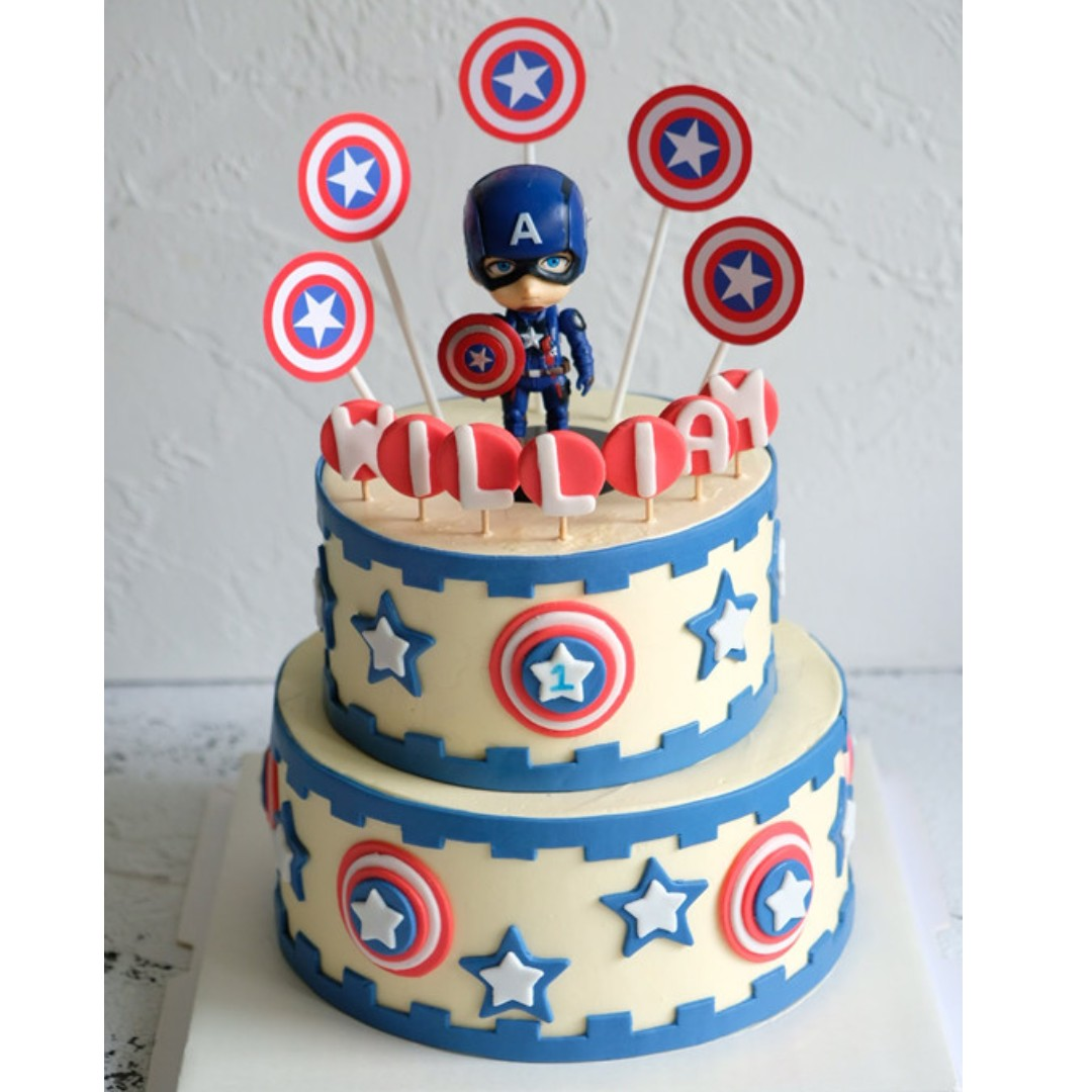Cool Captain America Kids Avenger Birthday Cake Food Drinks Baked Funny Birthday Cards Online Elaedamsfinfo