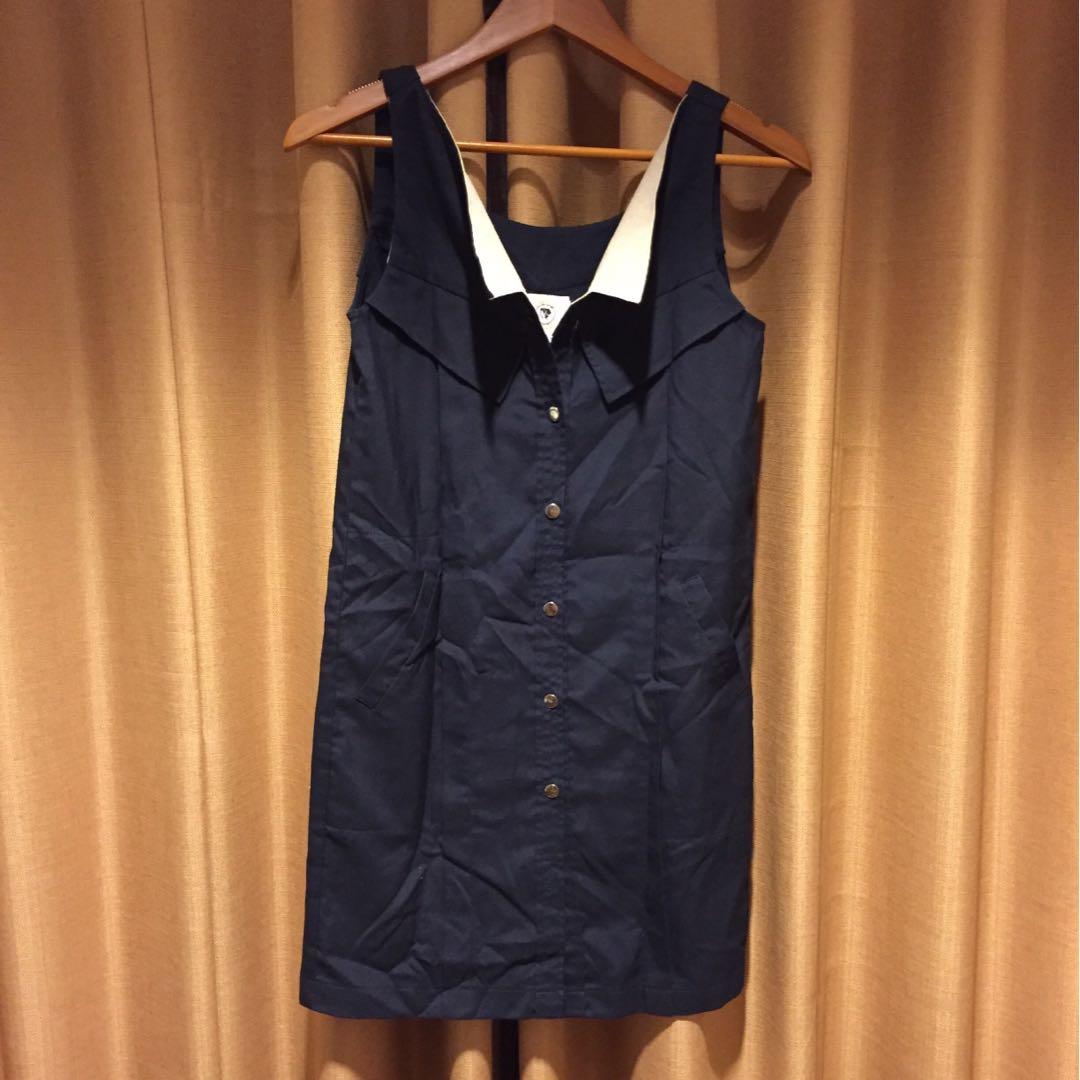 CIEL Navy Mini Dress kancing copot satu