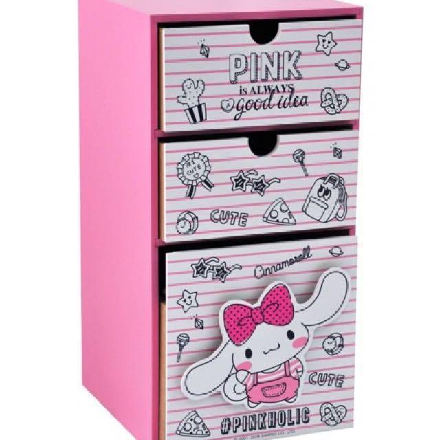 三麗鷗CINNAMOROLL大耳狗 喜拿 直式盒 三抽盒 收納盒 置物盒 桌上盒 抽屜盒