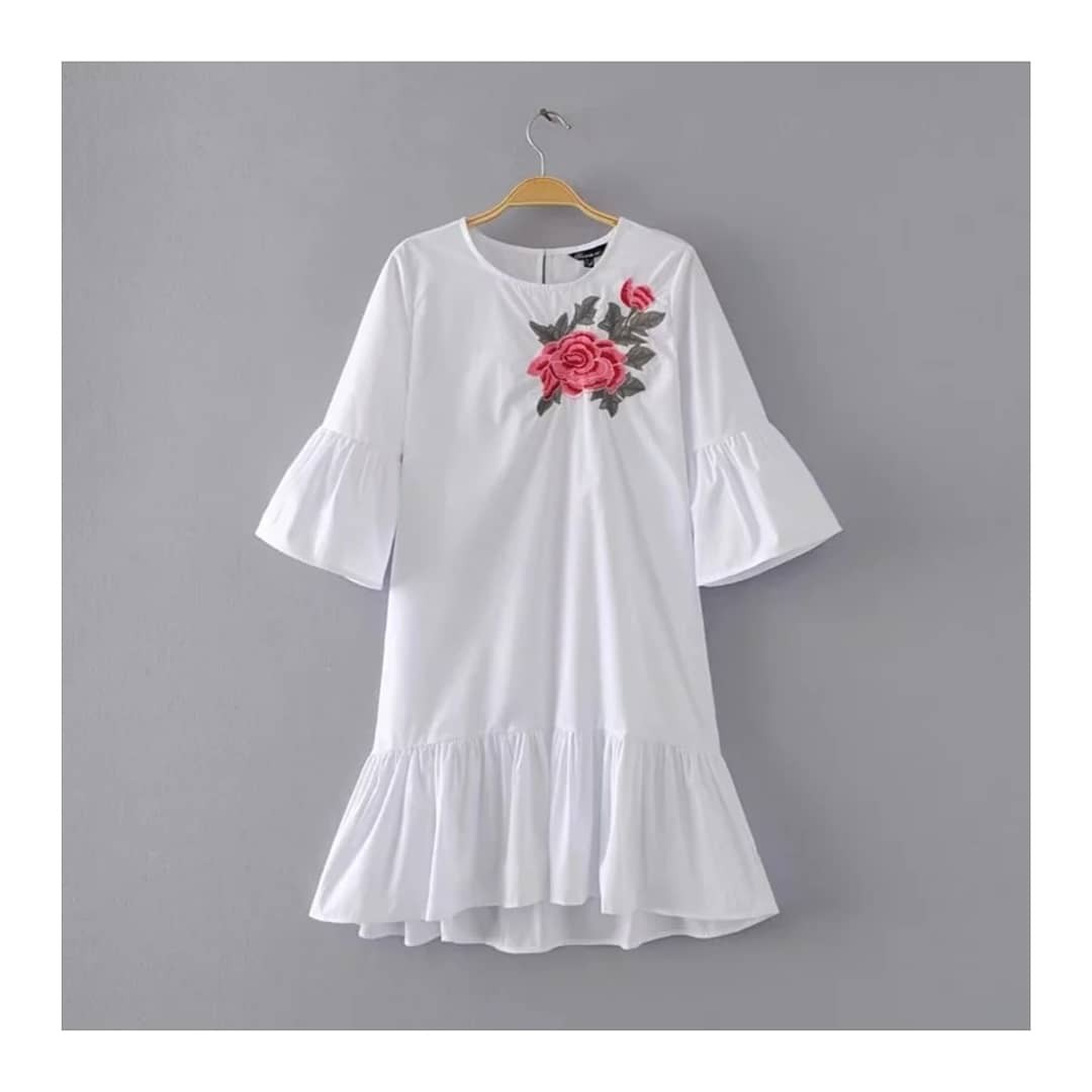 Embroidered Frill Dress