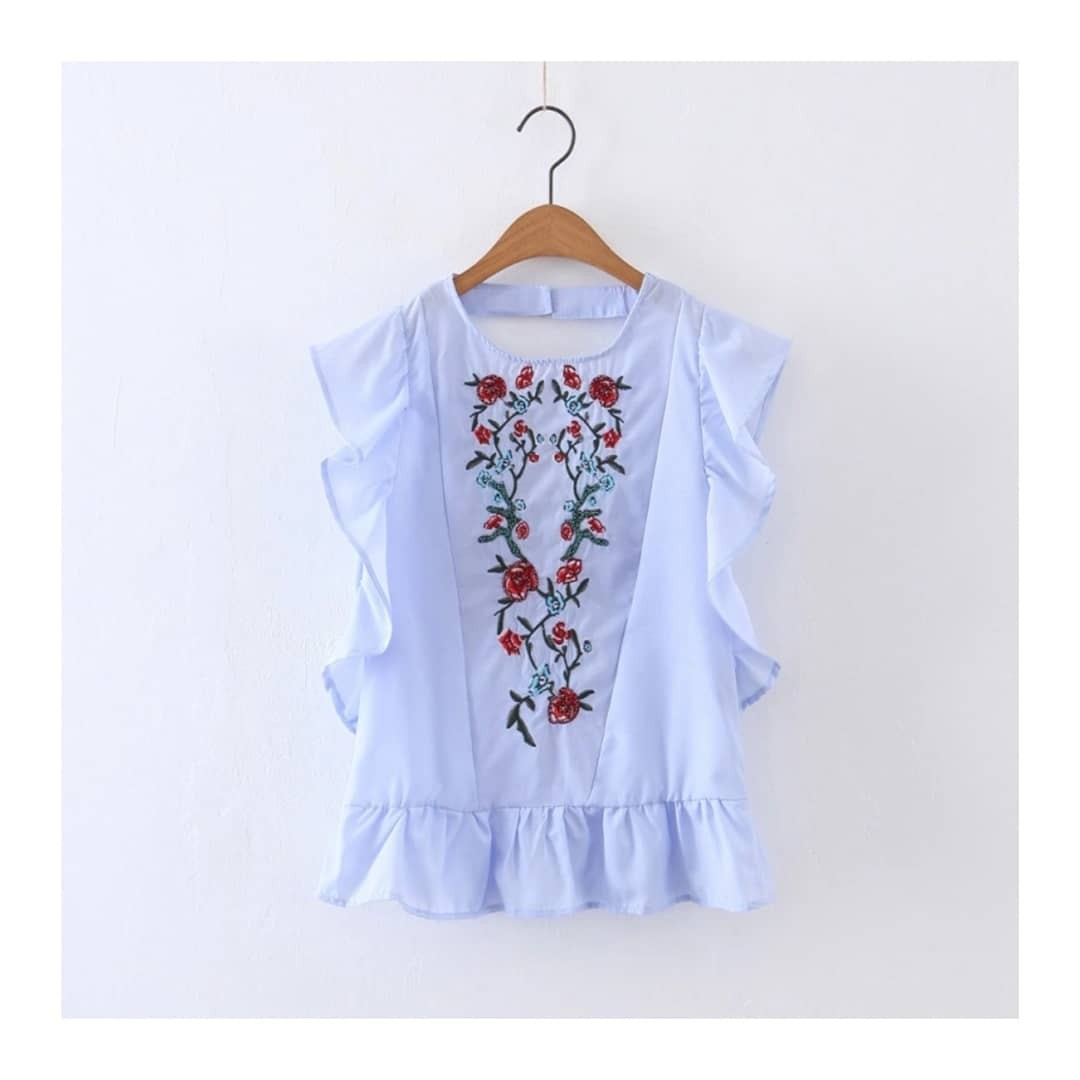 Embroidered Ruffle Top