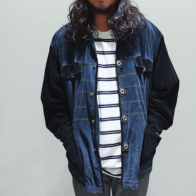售出_ Careful(wei)  ✼藍黑色絨質夾克✼ 金屬銀圈圈扣 中性男款外套 日本古着Vintage