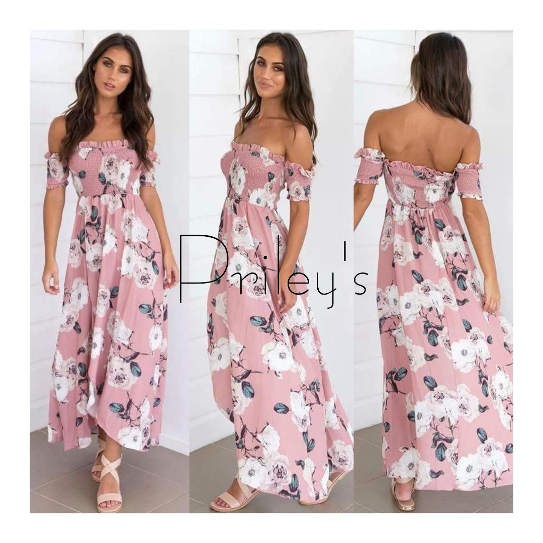 Floral Off-shoulder Maxi Dress