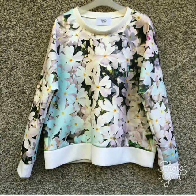 Floral printed neoprene pullover top blouse